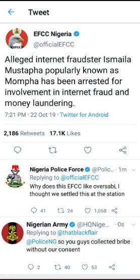 Ismaila Mustapha Mompha's Arrest; Nigerian Police Drag EFCC, Nigerian Army Reacts.